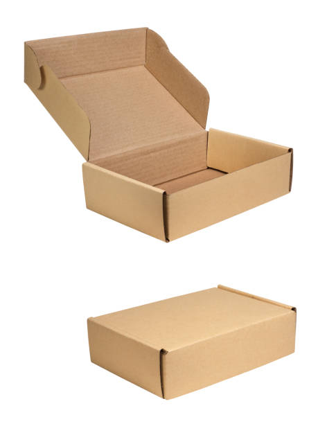 small cardboard boxes on white background with clipping path - cardboard box imagens e fotografias de stock