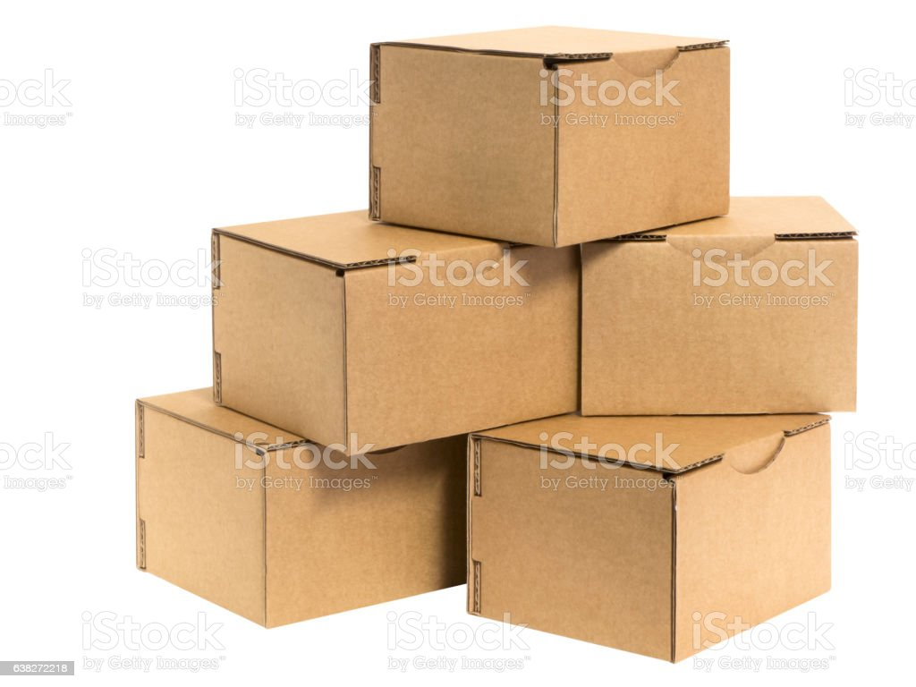 small cardboard boxes on white stock photo