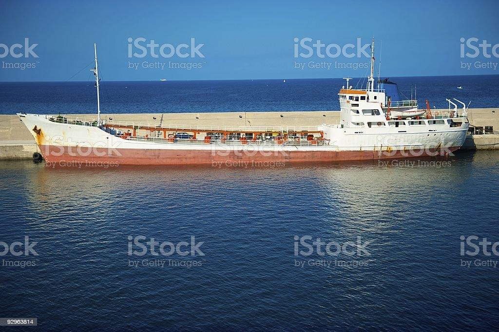 Small cargo ship emptied royalty-free stock photo