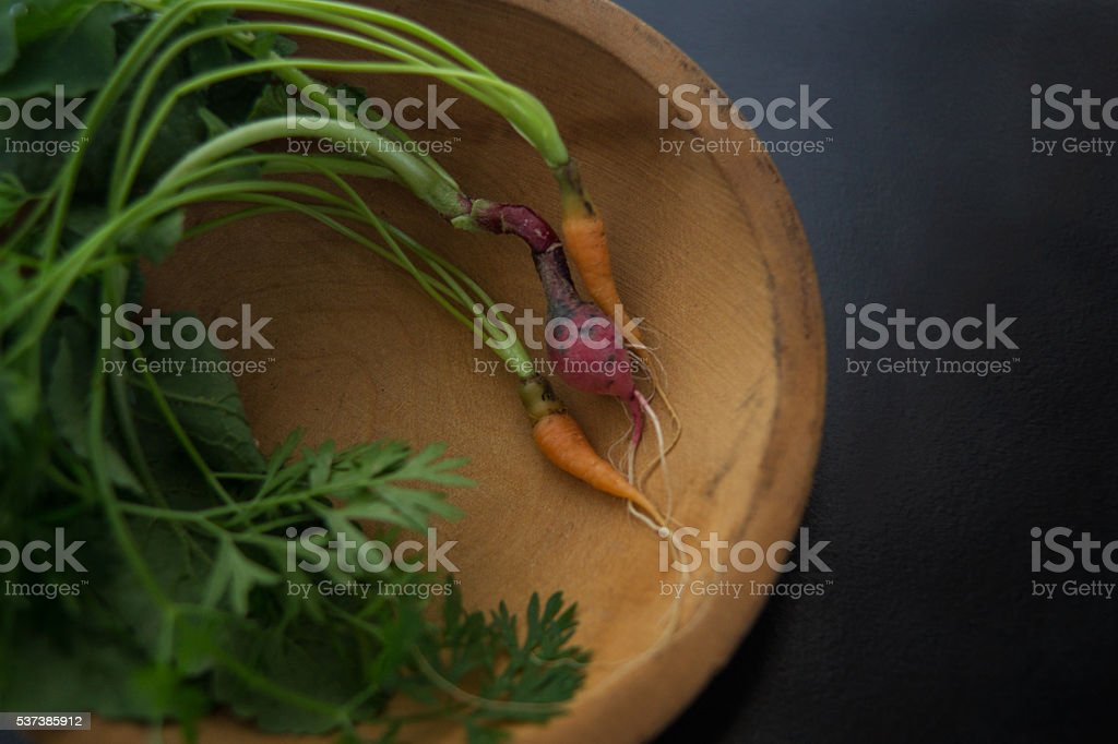 small carrots and radish in wood bowl stock photo