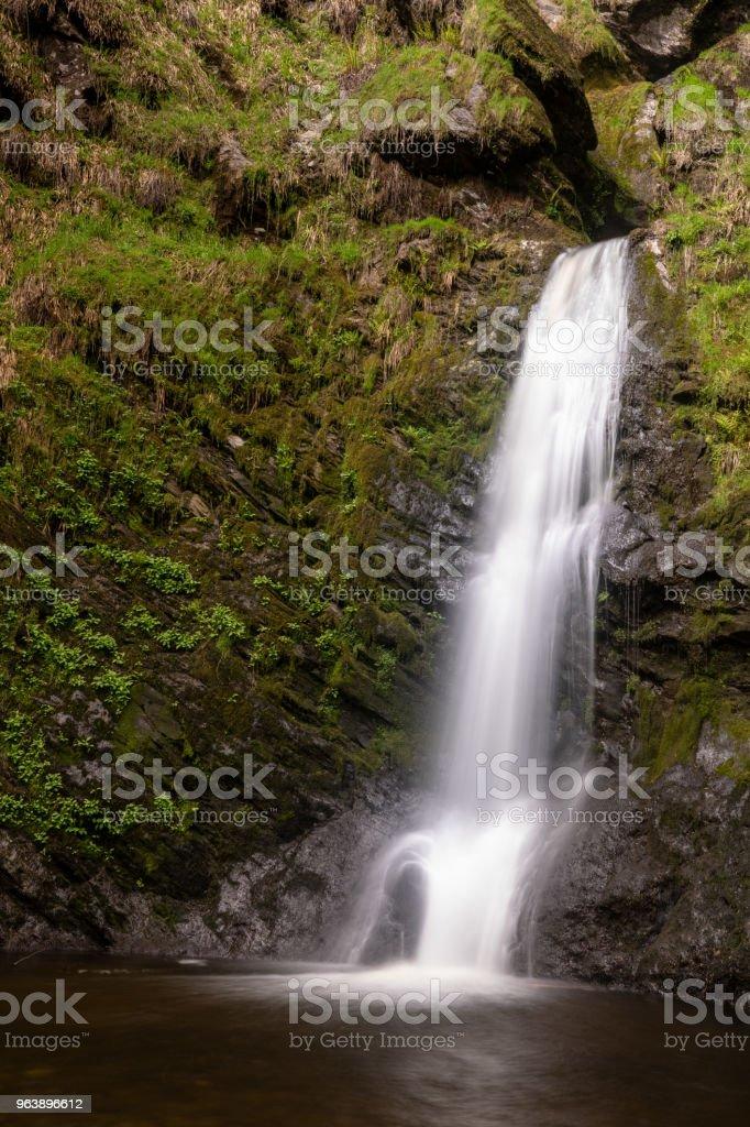 Small cascade in waterfall of Pistyll Rhaeadr in Wales - Royalty-free Beauty Stock Photo