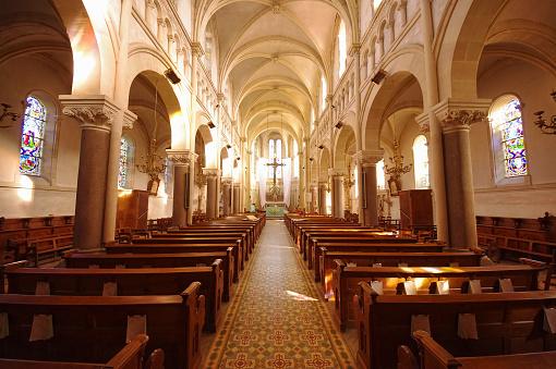 interior of a small catholic church