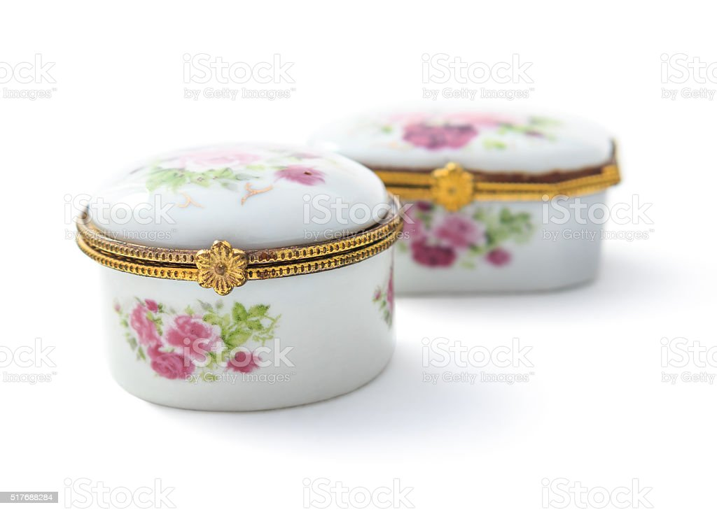 Small ceramic jewelry box or porcelain China Mainland isolated o stock photo