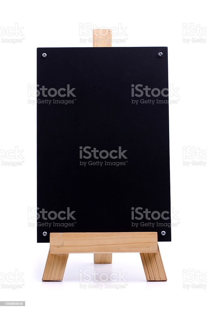 Small chalk menu board on wood support royalty-free stock photo