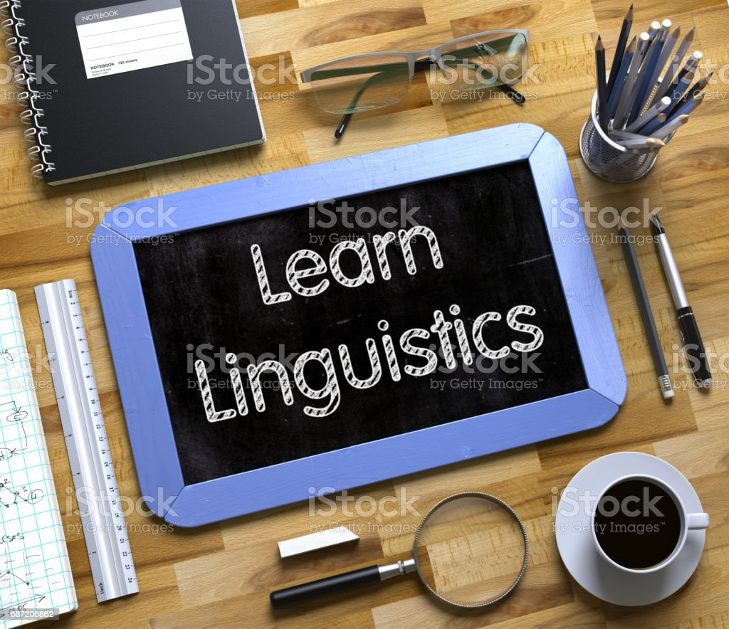 Small Chalkboard with Learn Linguistics Concept. 3D stock photo