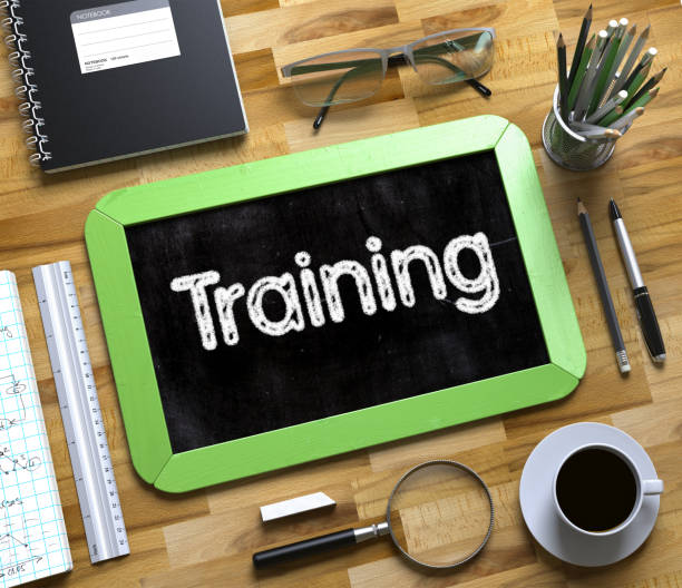 Small Chalkboard with Training Concept. 3D stock photo