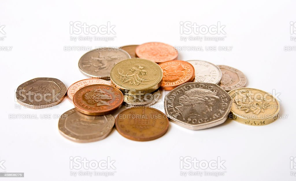 Small change - an assortment of British coins stock photo