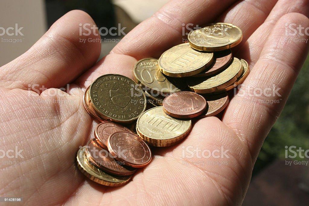 Kleingeld Euro-Münzen in der Hand royalty-free stock photo