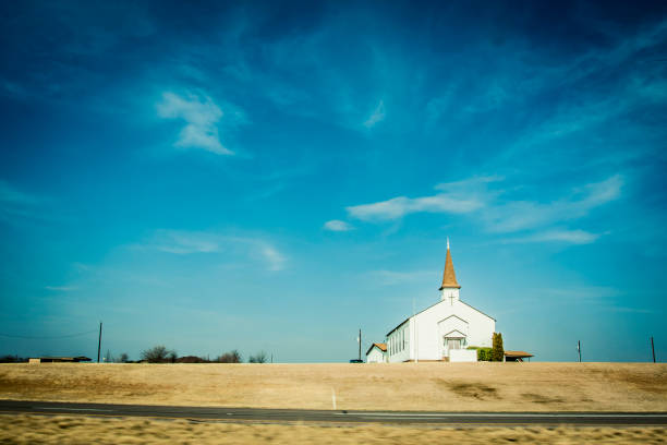 Small chapel in rural America stock photo
