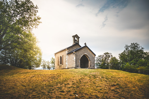 Small chapel of Notre Dame de l'Etoile on Dent du Chat mountain near Bourget lake in Savoie in french Alps mountains