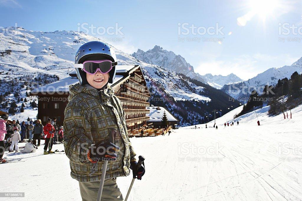 Small child skiing royalty-free stock photo