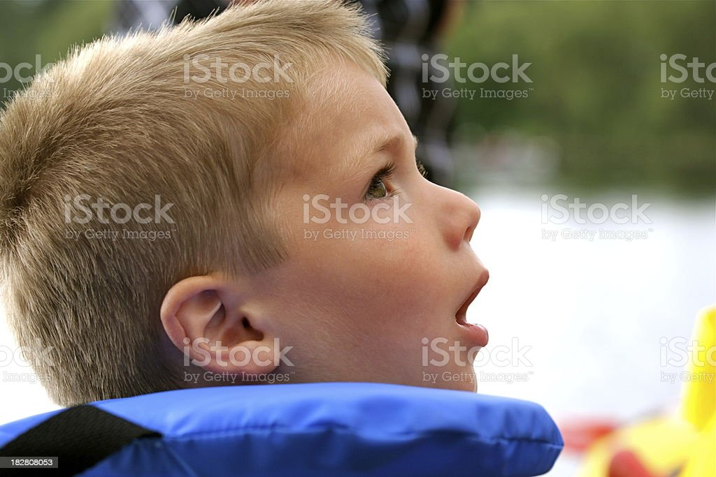 Small Child Wearing a Life Jacket at the Lake royalty-free stock photo