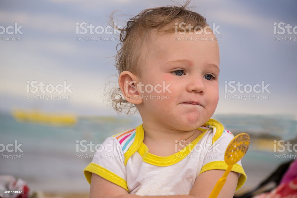 Small child with redness on the skin stock photo