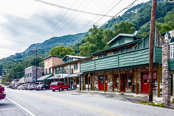 small chimney rock town near lake lure in north carolina stock photo