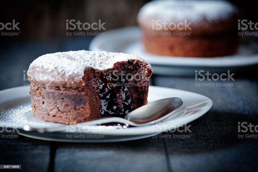 Small Chocolate Mud Cakes stock photo