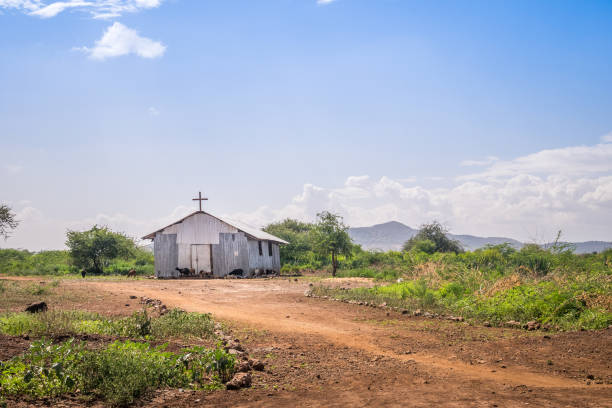 Small christian church in rural african area – Foto