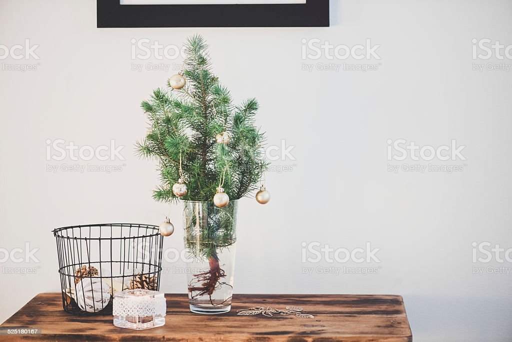 Small Christmas Tree In Vase Stock Photo More Pictures Of