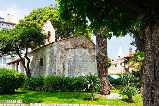 Crkvica sv. Trojstva Church in historical town Lovran, Croatia