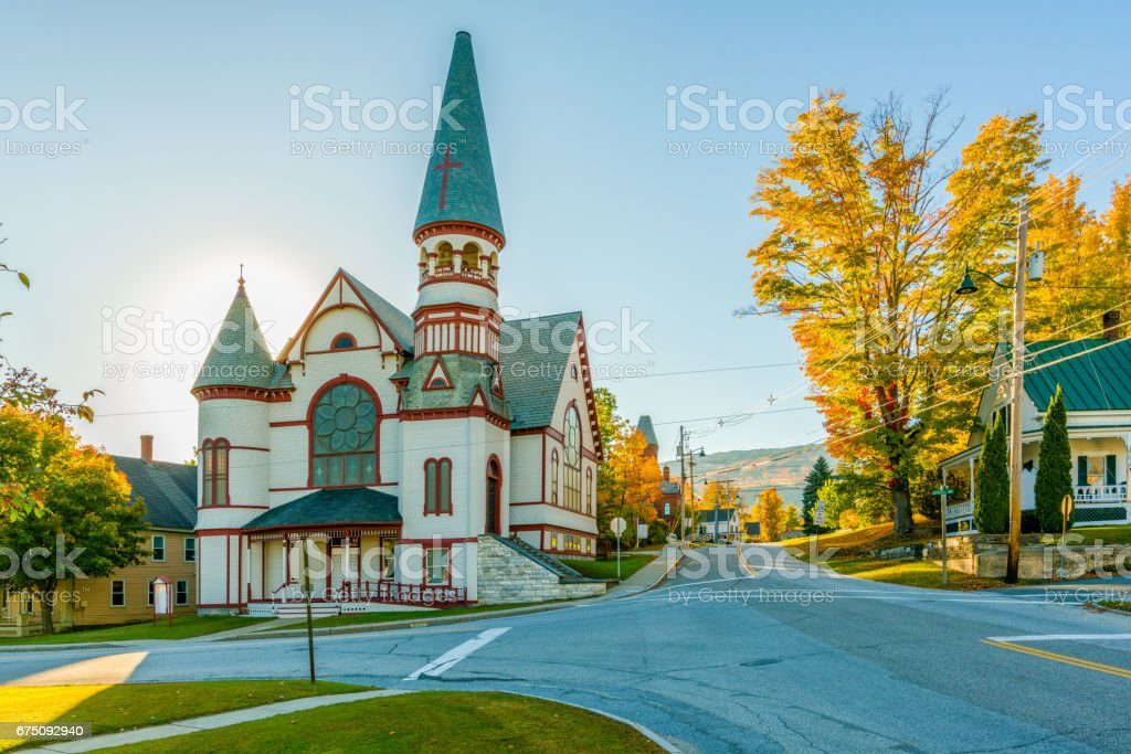 A small church in a small town stock photo
