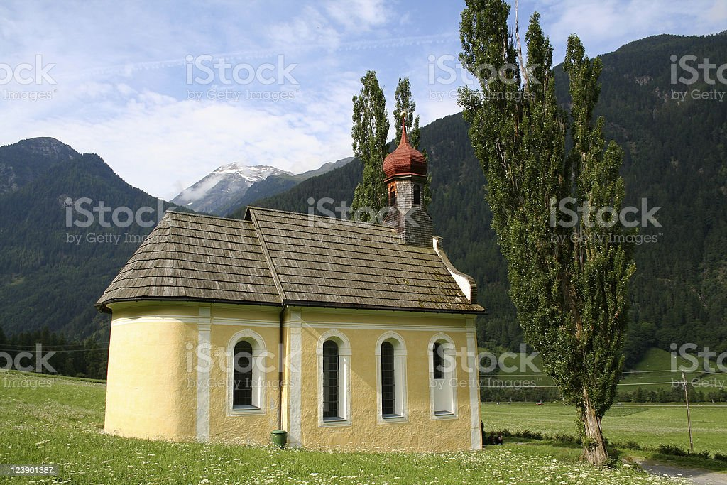 Small church in the Alps royalty-free stock photo
