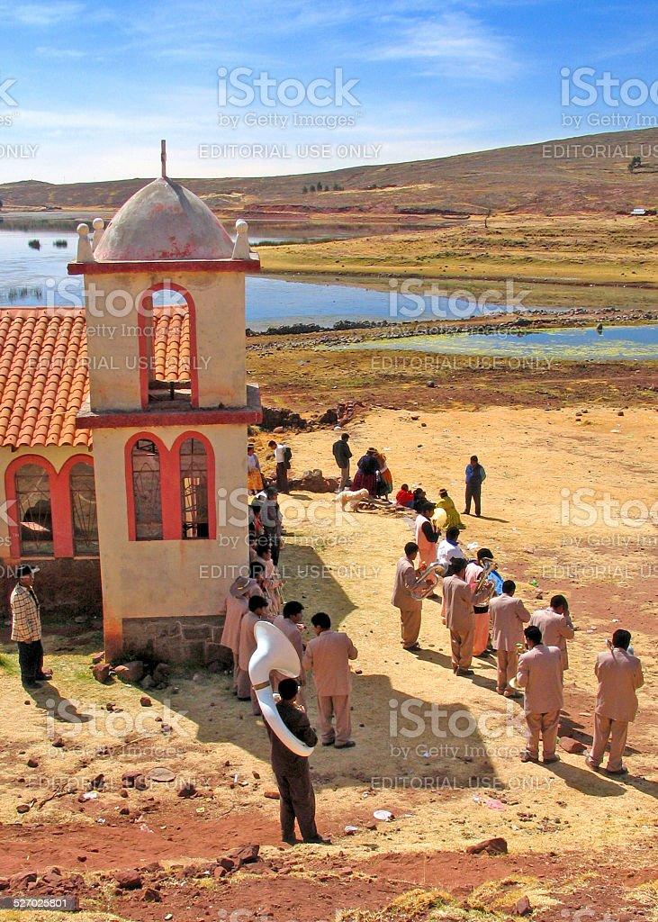Small church on the shore ofd Lake Titicaca,Peru stock photo