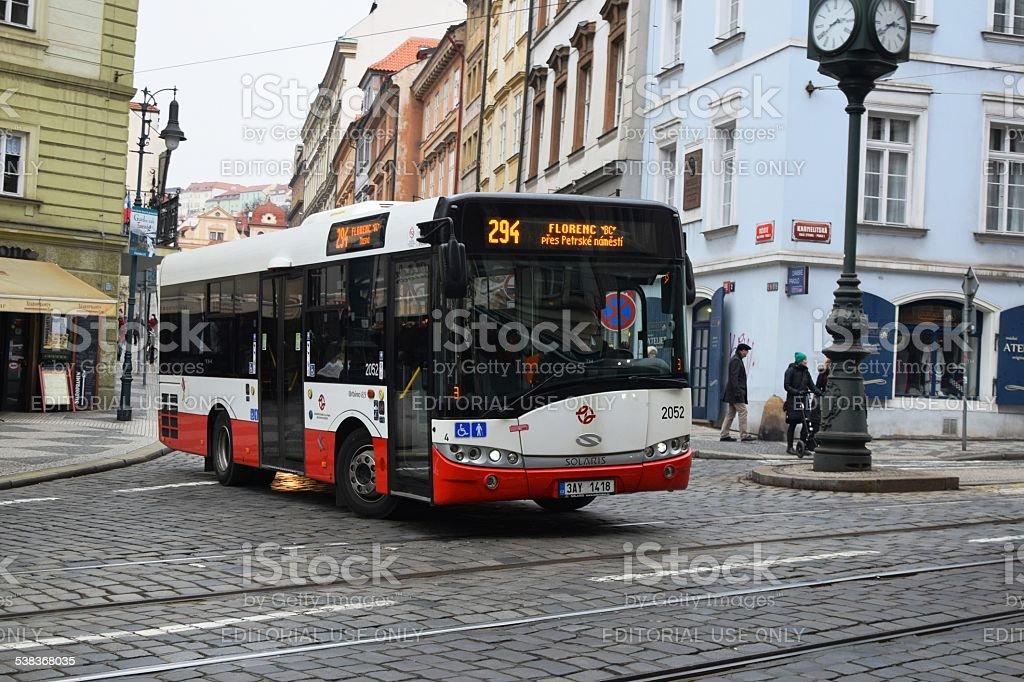 Prague, Czech Republic, February 17th, 2015: Small city bus Solaris...