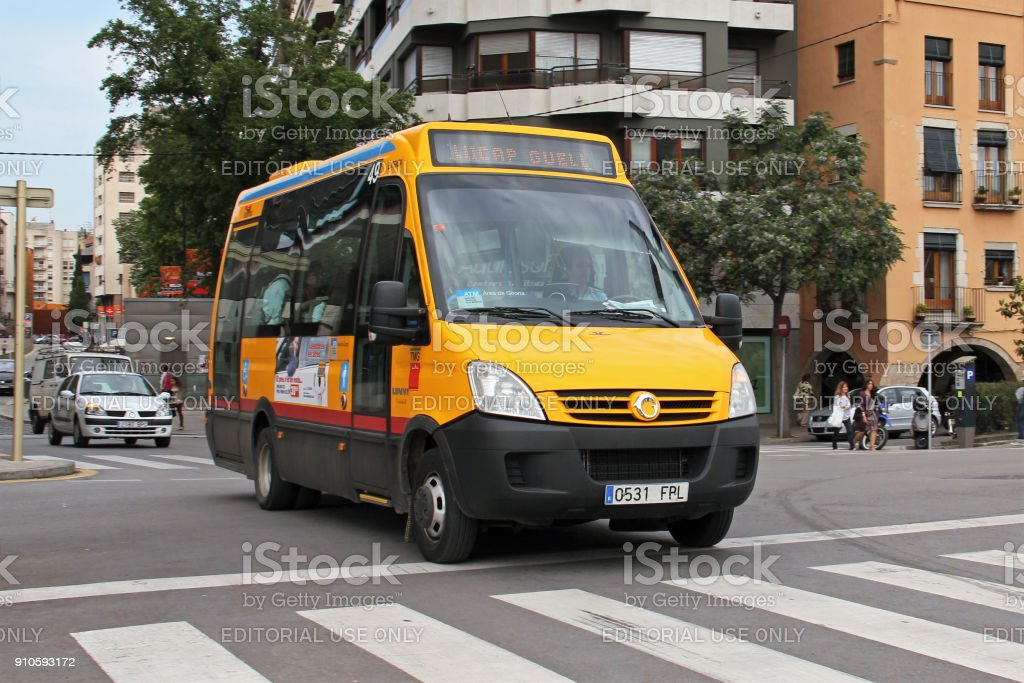 Small city bus Irisbus Unvi based on IVECO Daily chassis goes through...