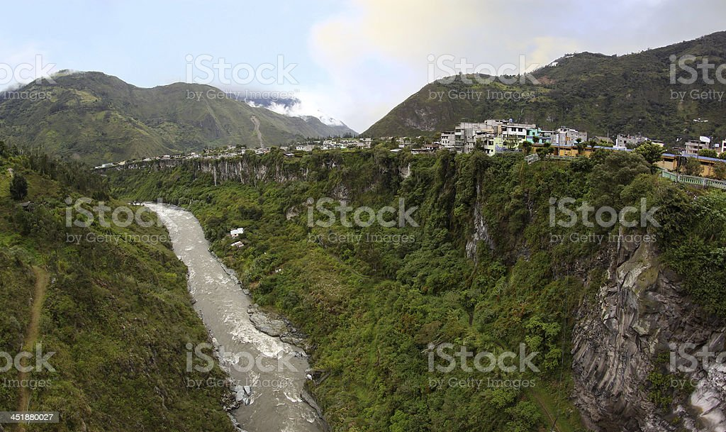 Small city in Anden highlands. Banos, Ecuador, South America stock photo
