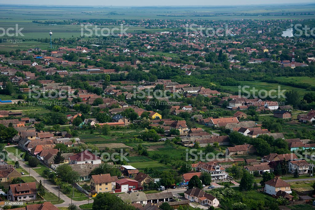 Small city on aerial view. stock photo