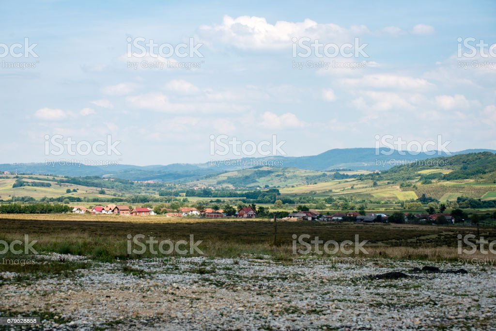 small city view from above in romania royalty-free stock photo
