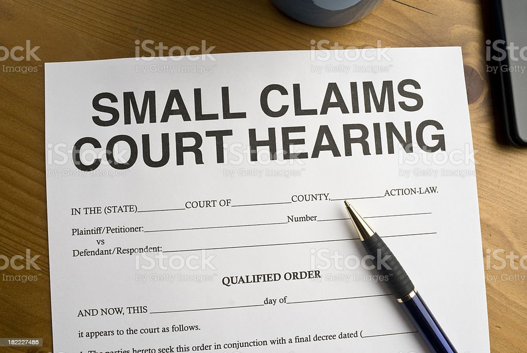 Small Claims Court Hearing Document royalty-free stock photo