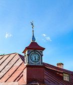 istock Small clock tower on roof of old house. Kuressaare, Saaremaa, Estonia 677978354
