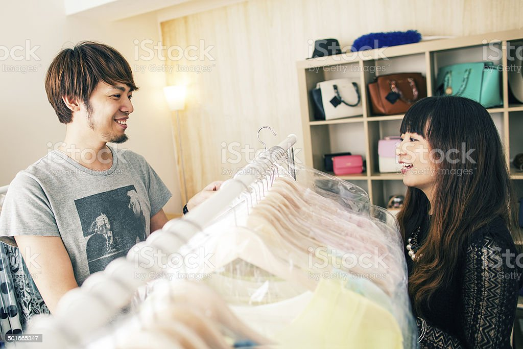 Small clothing store owners royalty-free stock photo