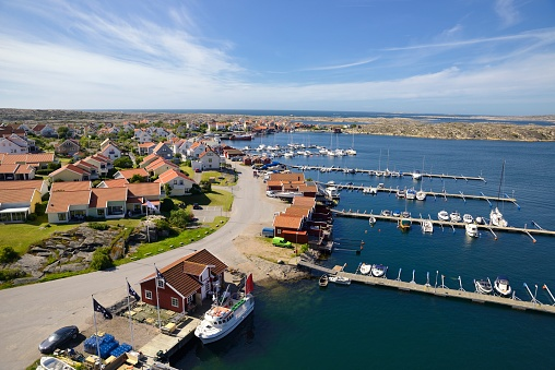 Small coastal village in Scandinavia at summer, Kungshamn-Sweden