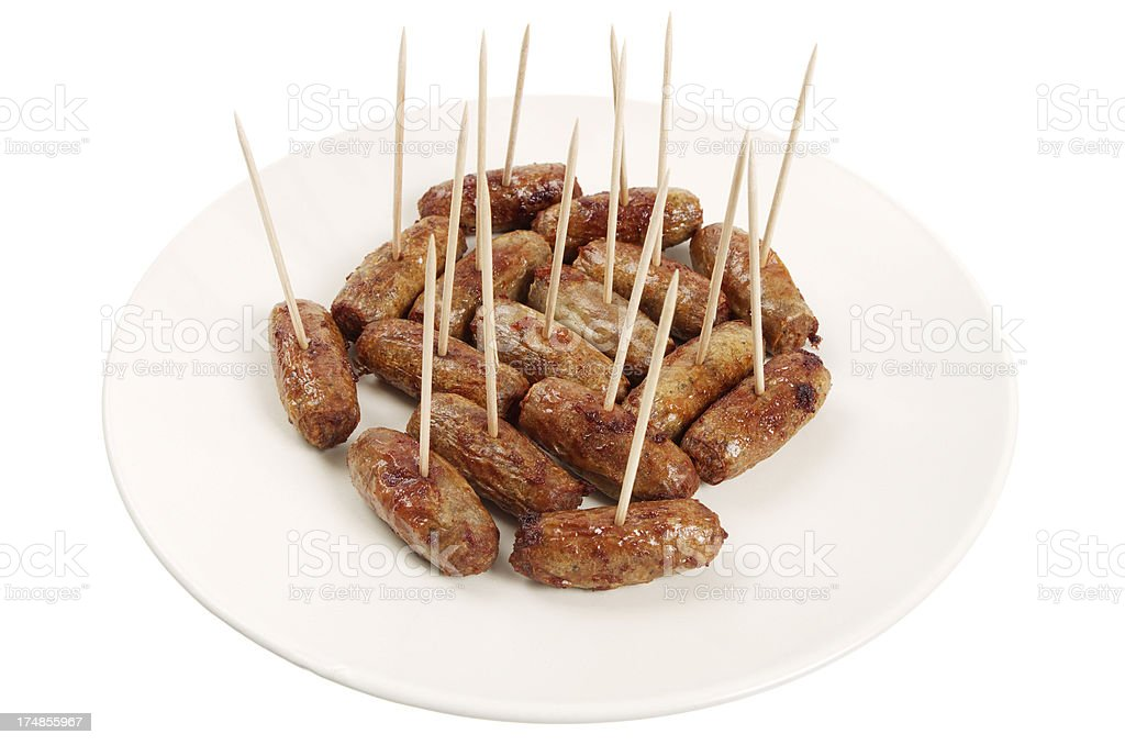 Small Cocktail Sausages On Sticks stock photo
