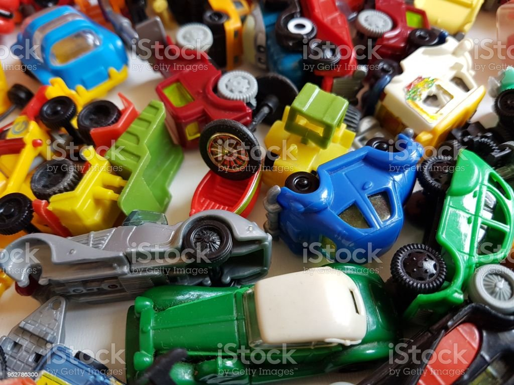 Small Color Cars Children Toys Collection Background Stock Photo