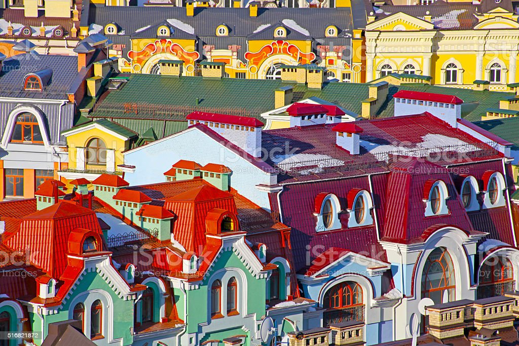 Small colored buildings in Kiev taken in Ukraine in summer royalty-free stock photo