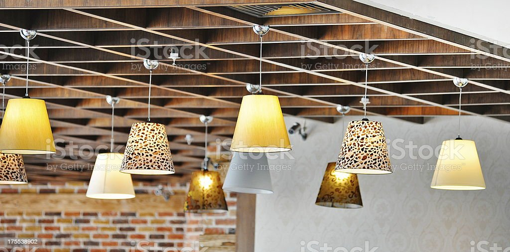Small colorful ceiling lamps stock photo