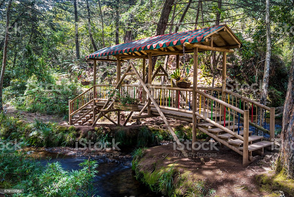 Small Colorful Covered Wooden Bridge Parque Arvi Medellin Colombia