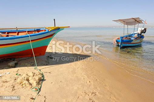 Traditional fishing boats on the Hammamet beach