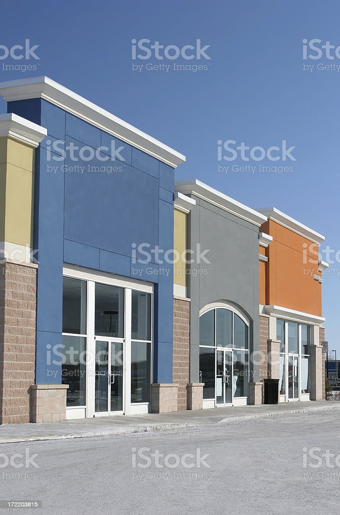Small Colorful Strip Mall Stores royalty-free stock photo