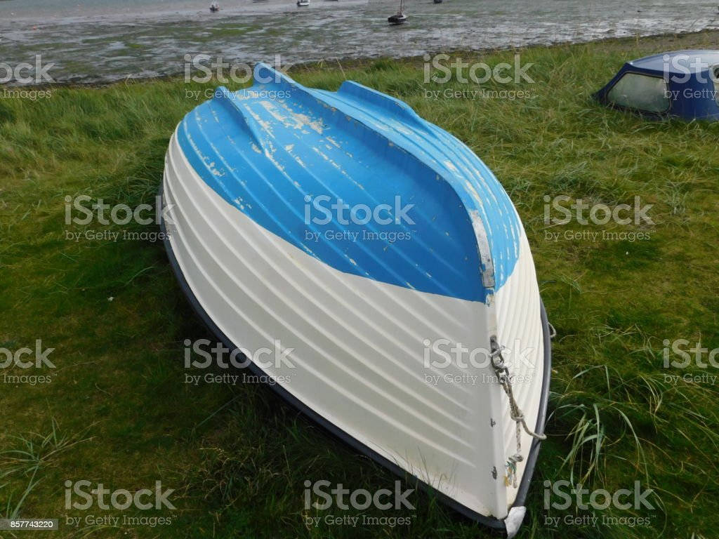 Small Colourful Boat on Lindisfarne (The Holy Island) stock photo