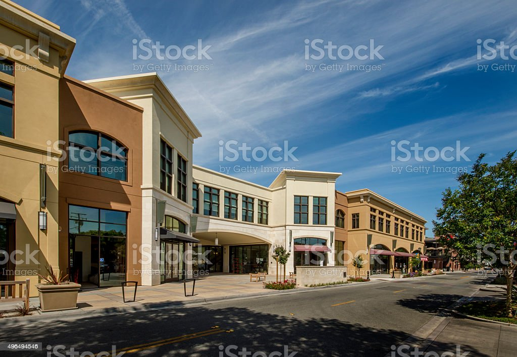 Small Commercial Shopping District stock photo