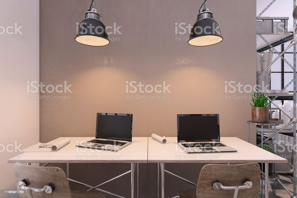Image of: Small Contemporary Office Interior With Large Office Desk Stock Photo Download Image Now Istock