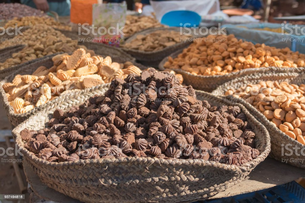 Small cookies for sale in a market in Morocco stock photo
