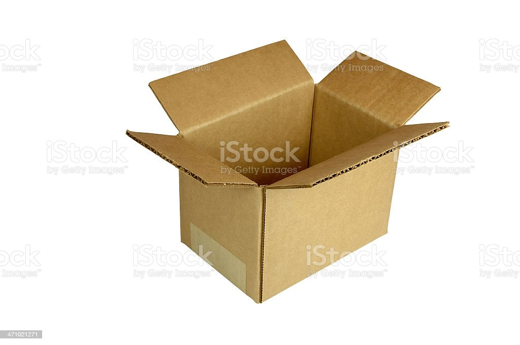 Small Corrugated Box  (with clipping path) royalty-free stock photo