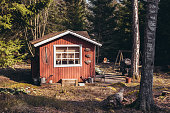 Small cottage in the forest of Lauttasaari Helsinki Finland with empty yard with sun shining