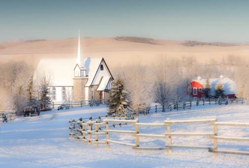 Small Country Church in Winter