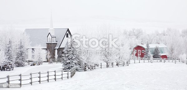 istock Small Country Church in Winter 637839200