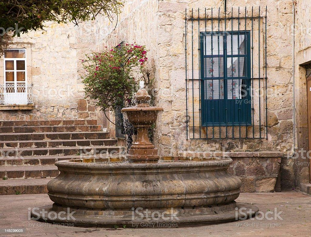 Small Courtyard Plaza Fountain Morelia Mexico stock photo